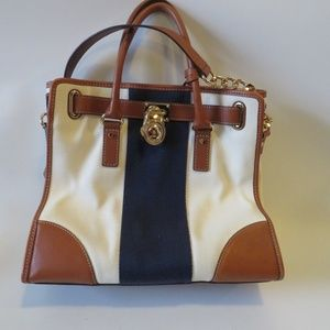 MICHAEL KORS IVORY/BROWN BLUE FABRIC & LEATHER BAG